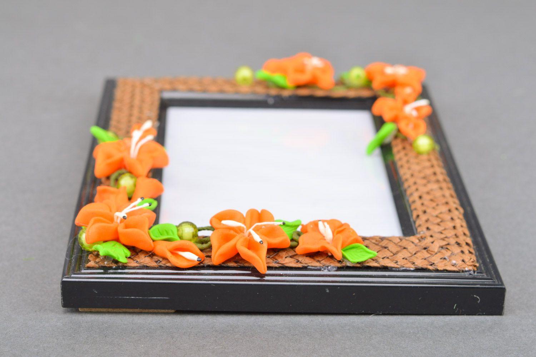 MADEHEART > Marco de fotos rectangular con flores de arcilla ...