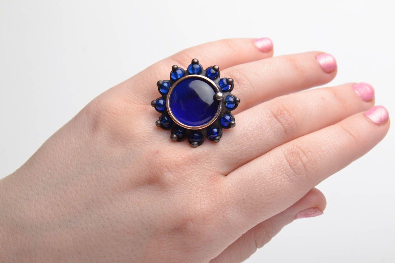 Kupfer Ring mit blauem Glas foto 5