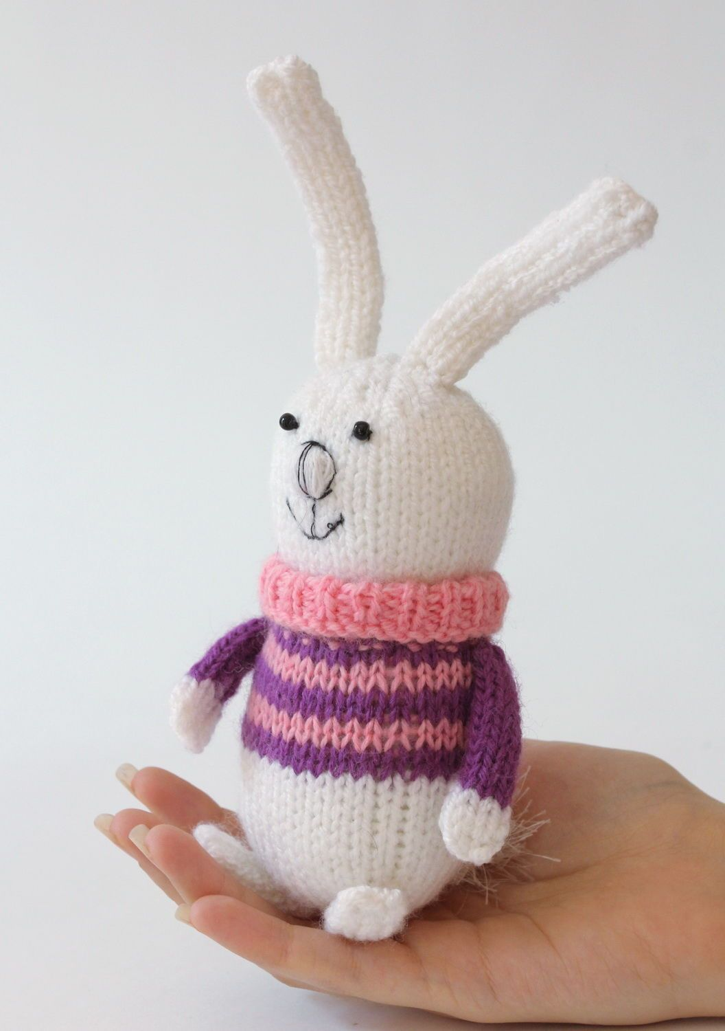Knitted toy Baby rabbit in pink-purple sweater photo 2