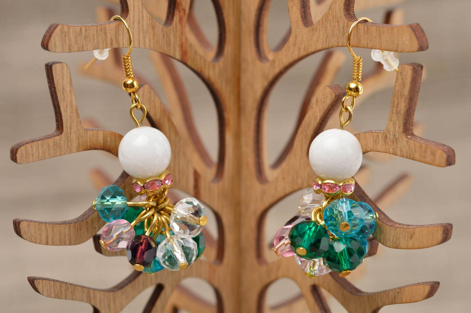 Fashion earrings handmade earrings with natural stones stylish jewelry for women photo 1