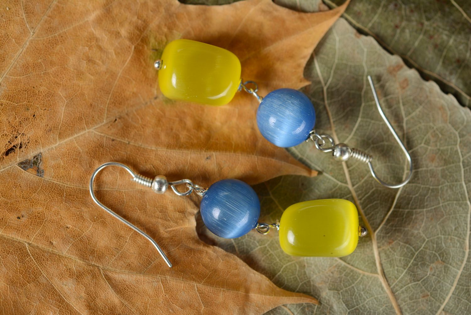 Earrings with cat's eye stone photo 4