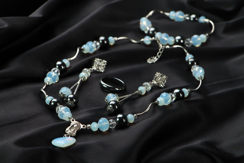 Jewelry set with hematite and moonstone photo 2