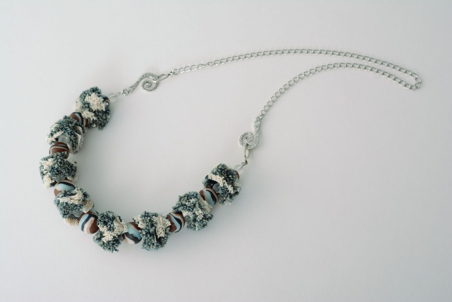 Necklace made of polymer clay Denim photo 4