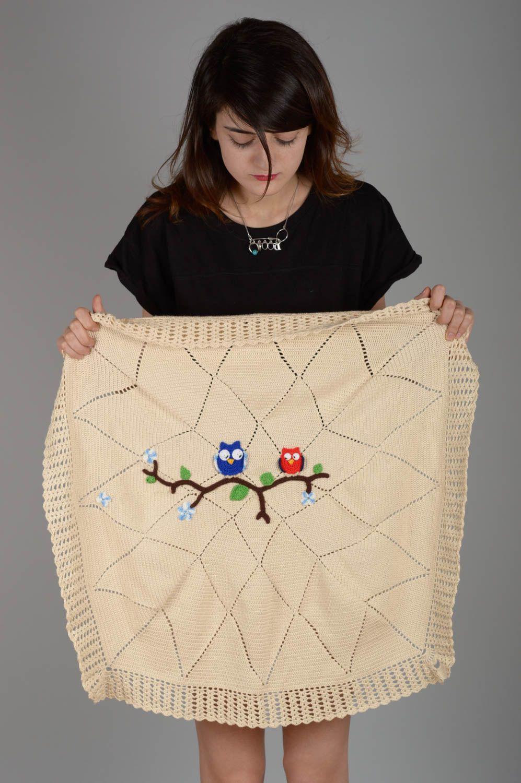 madeheart couverture b b tricot plaid pour b b fait main avec hiboux linge de lit b b. Black Bedroom Furniture Sets. Home Design Ideas