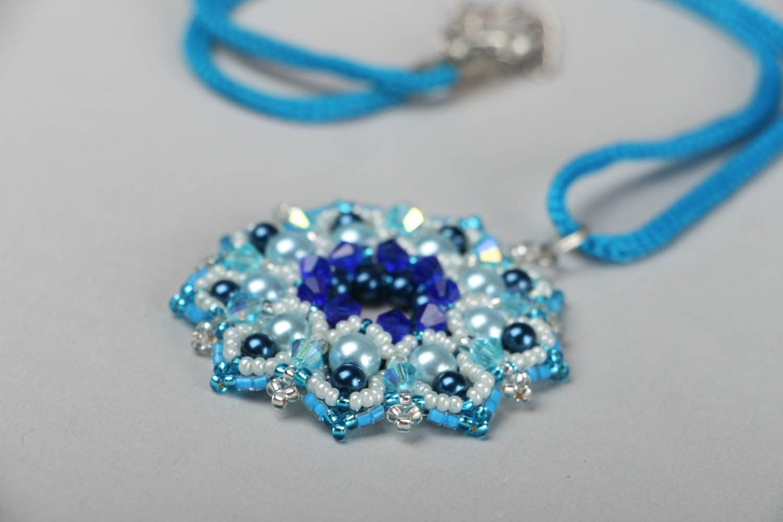 Blue beaded pendant Pearls photo 2