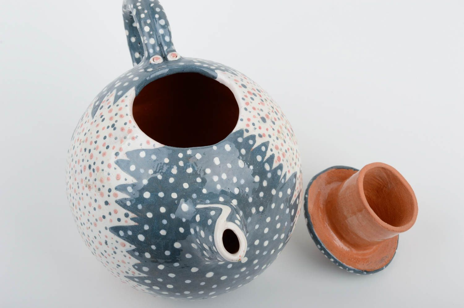 Handmade ceramic ware stylish clay teapot unusual kitchenware art pottery photo 4
