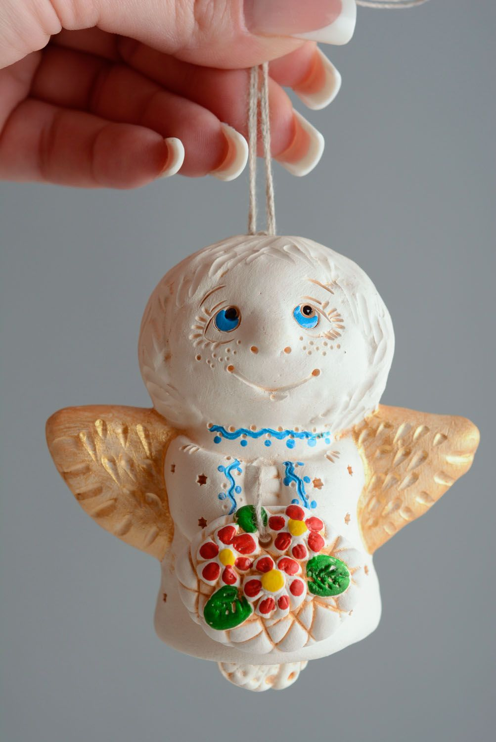 Homemade ceramic bell Angel photo 5