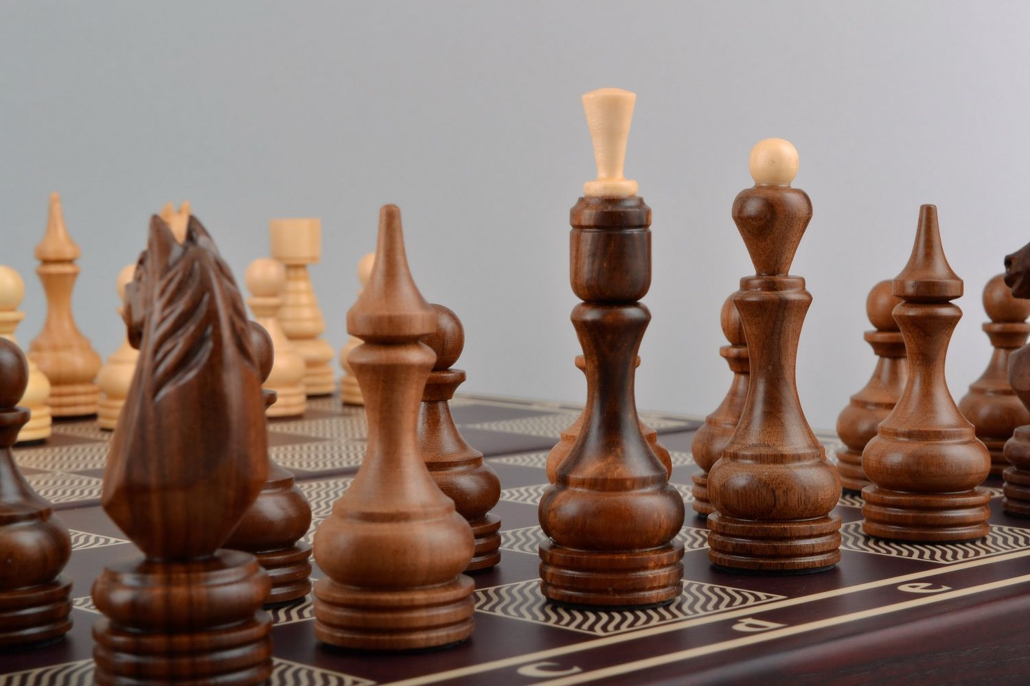 Wooden chess set 3 in 1 checkers, chess and backgammon photo 3