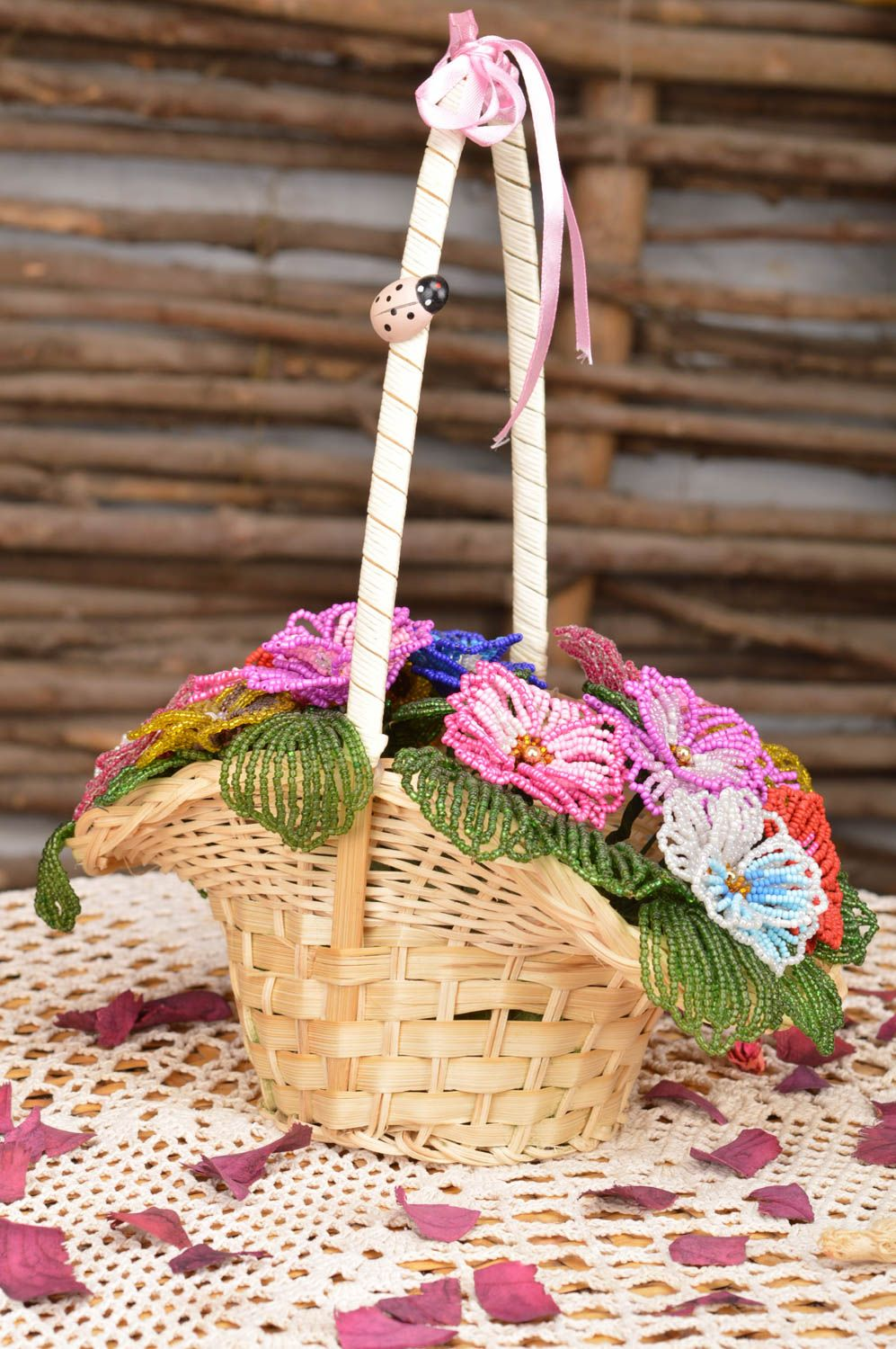 Handmade decorative basket with artificial beaded colorful flowers for interior photo 1