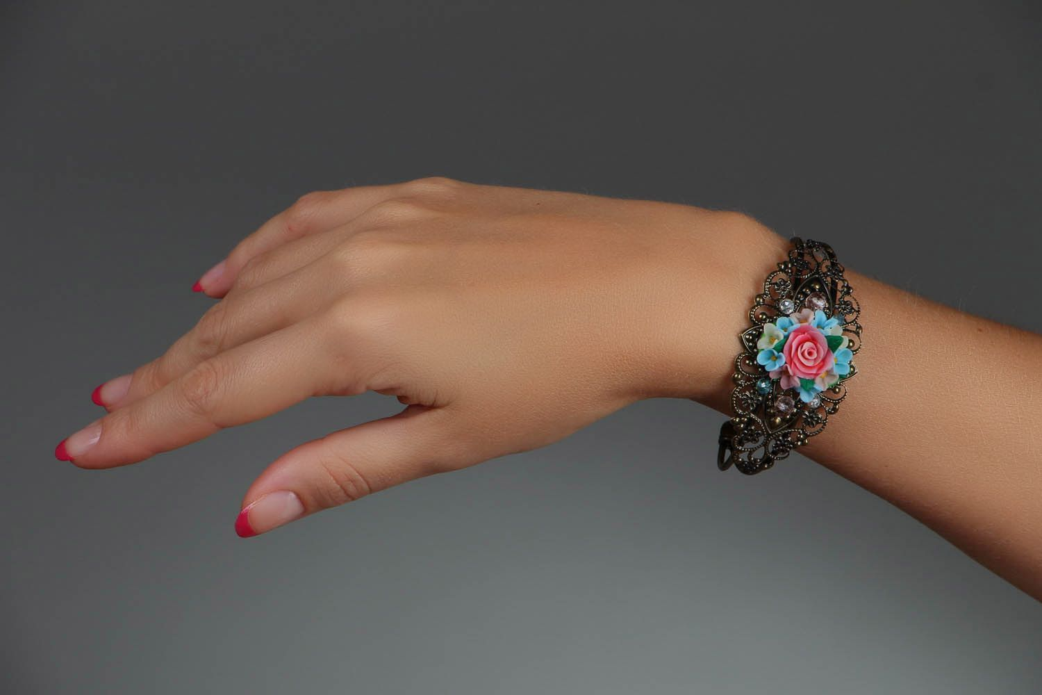 Bracelet made of polymer clay photo 7