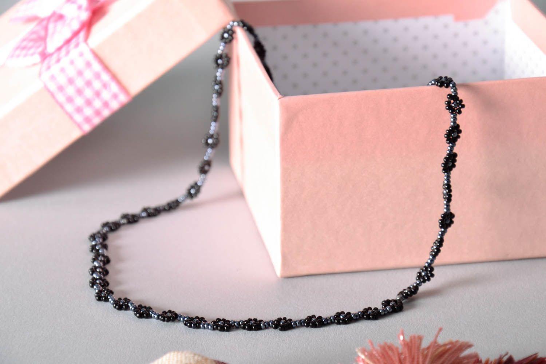 Black beaded necklace-bracelet photo 1
