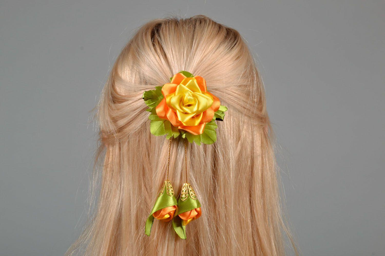 Satin hair clip Chinese Rose photo 1