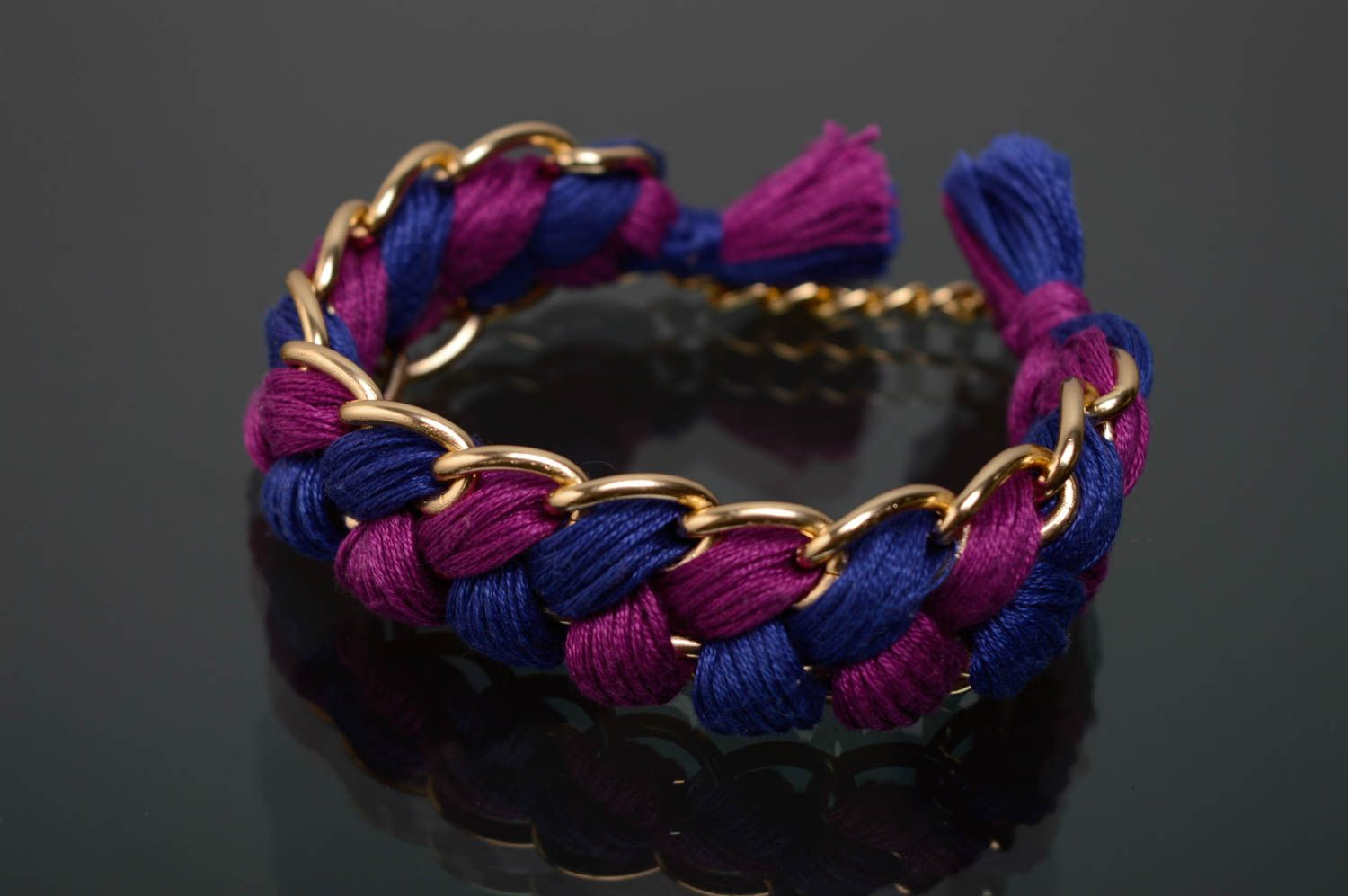 Woven moulin thread necklace with chain photo 1