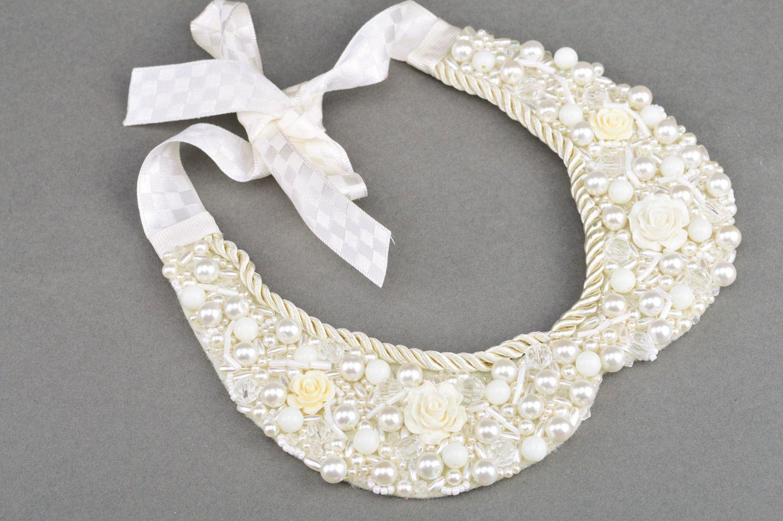 madeheart collier collet fait main en perles fantaisie et dentelle sur cordon tendresse. Black Bedroom Furniture Sets. Home Design Ideas