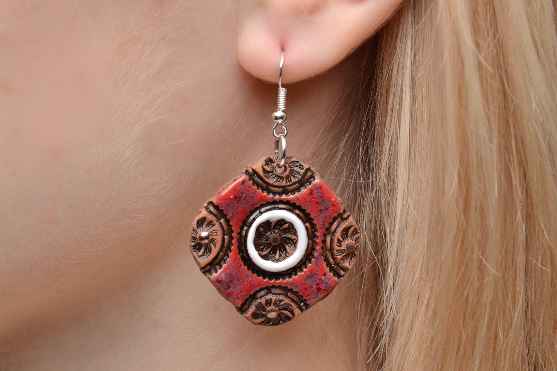 Handmade ceramic earrings photo 2