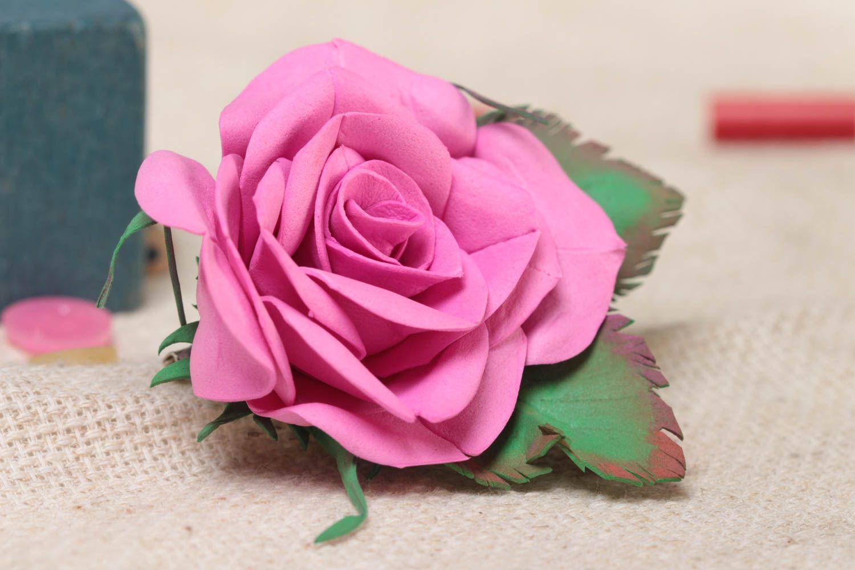 Gentle pink handmade designer foamiran fabric flower brooch Rose photo 1