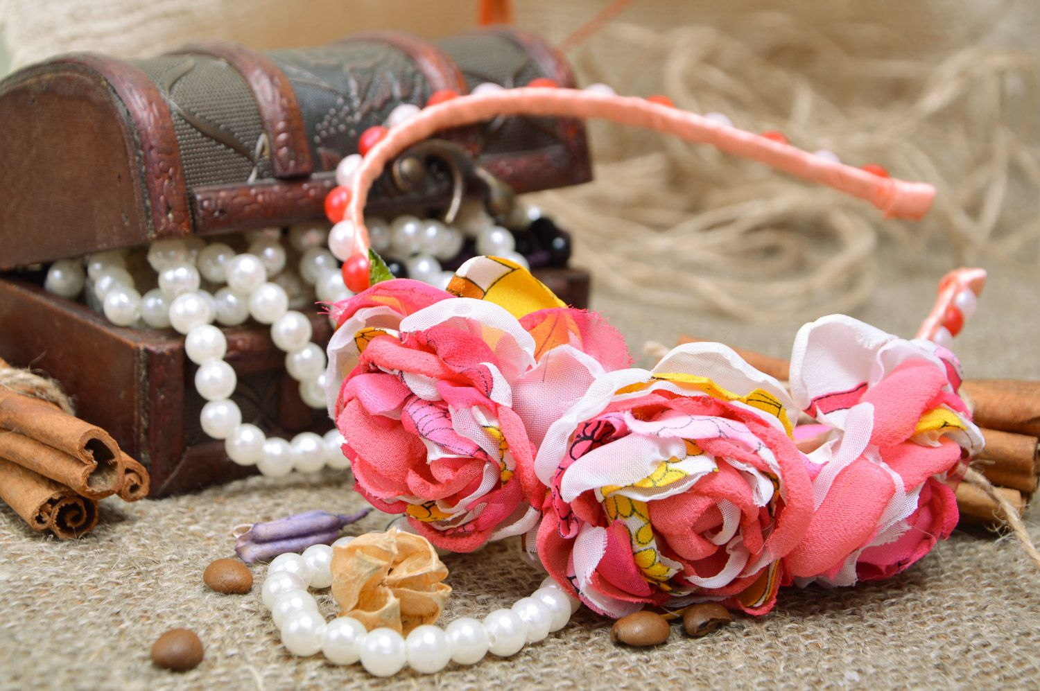 Feminine handmade headband with fabric flowers and beads in pink color palette photo 1