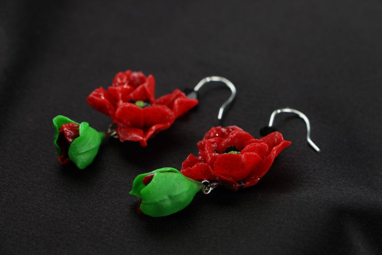 Polymer clay earrings in the shape of poppy flowers photo 2