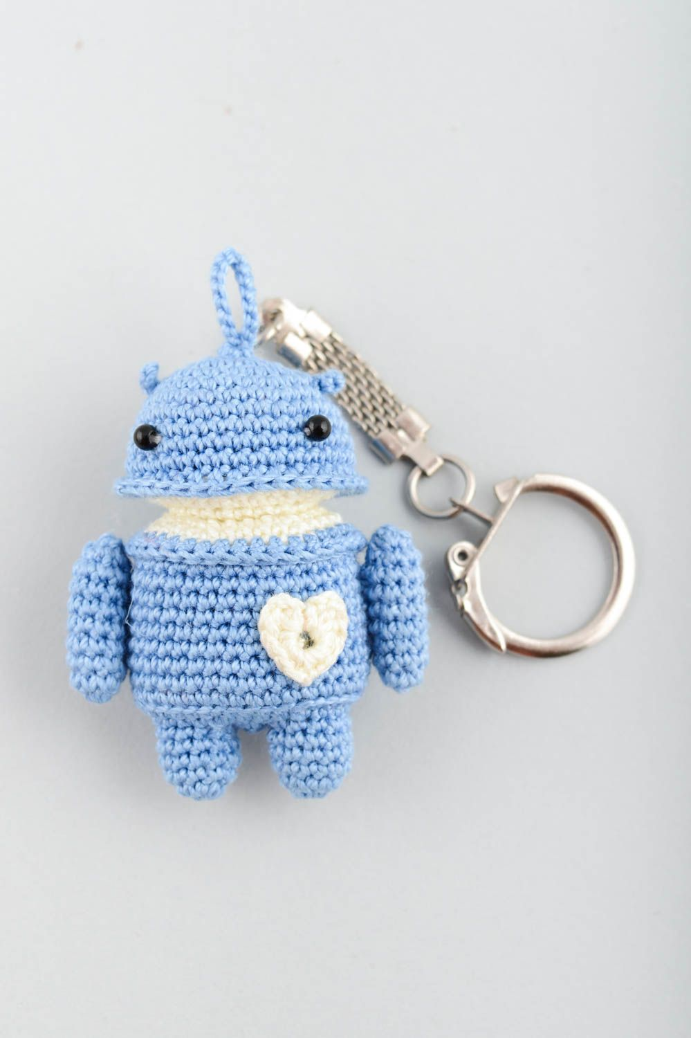 keychains Blue soft toy keychain handmade accessory for purse present for children - MADEheart.com