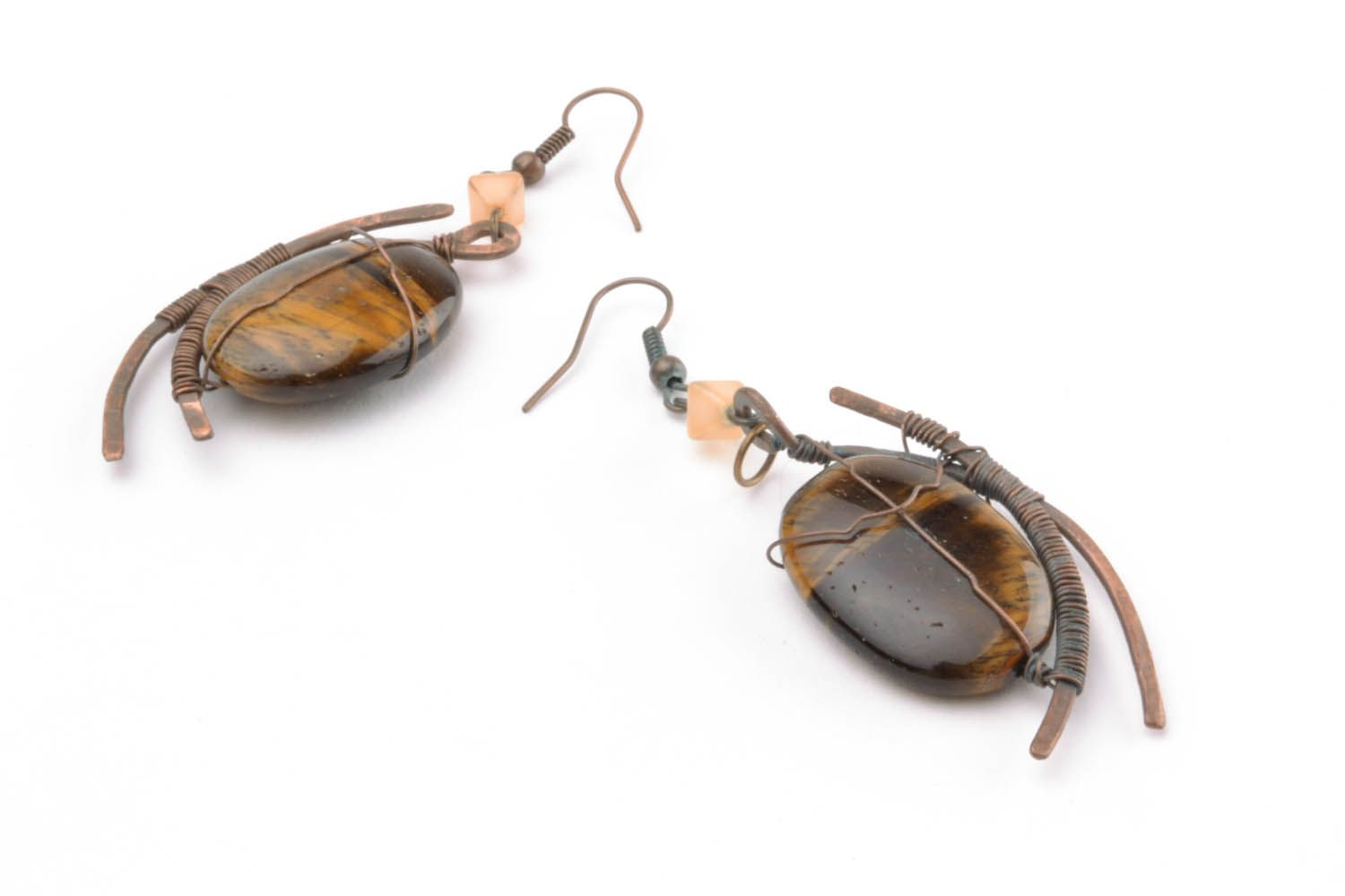 Copper earrings with tiger's eye stone photo 1