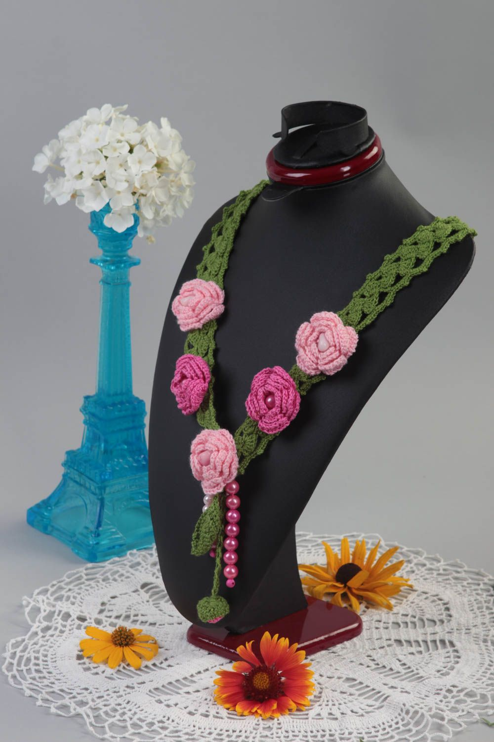 Handmade textile necklace crocheted flower necklace stylish accessory gift photo 1