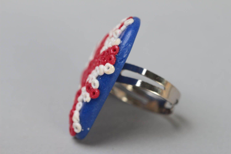 Handmade designer heart shaped polymer clay ring on metal basis Union Jack photo 3