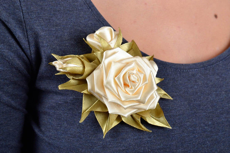 Satin handmade brooch Roses photo 5