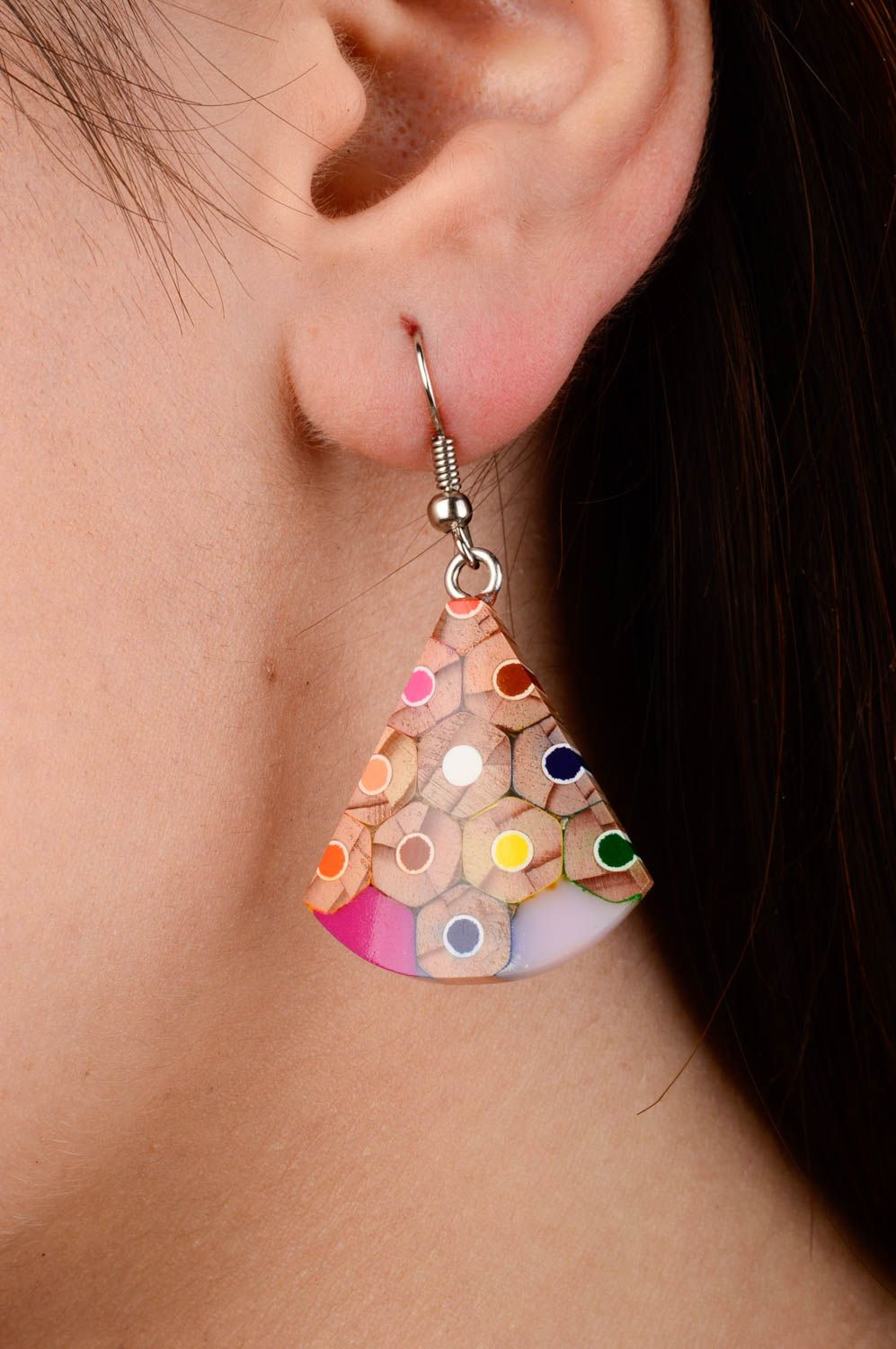 Wooden designer earrings handmade earrings with charms stylish accessories  photo 2