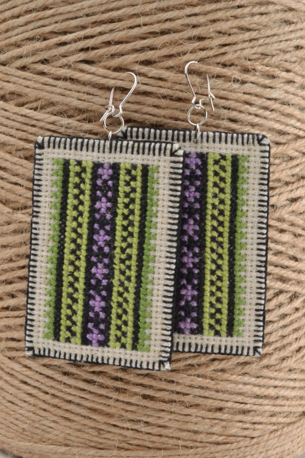 Earrings with embroidery photo 1