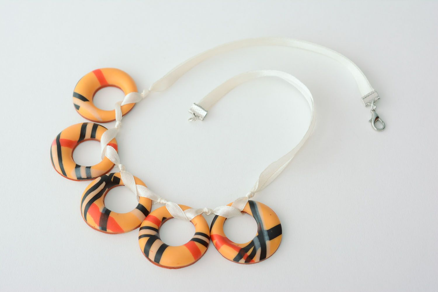 Polymer clay necklace Bagels photo 3