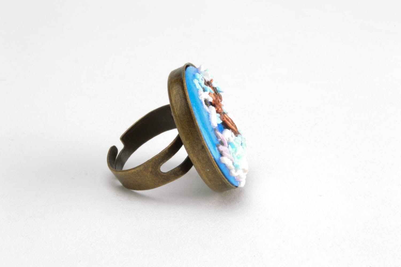 Кольцо из полимерной глины Зимний пейзаж фото 4
