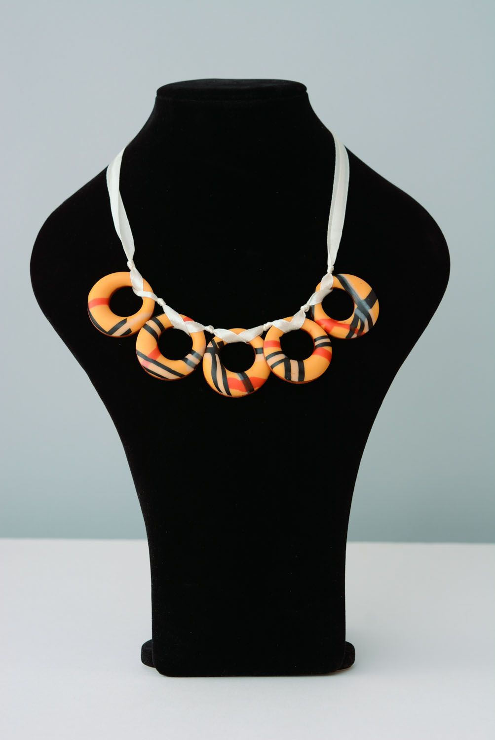 Polymer clay necklace Bagels photo 1