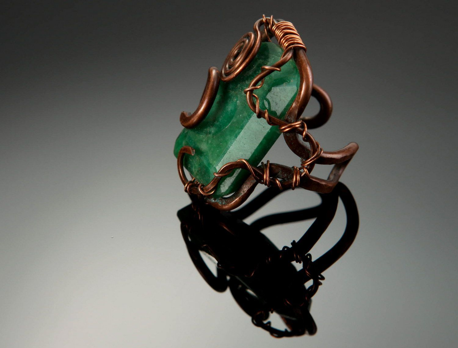 gemstone rings Copper ring with emerald - MADEheart.com