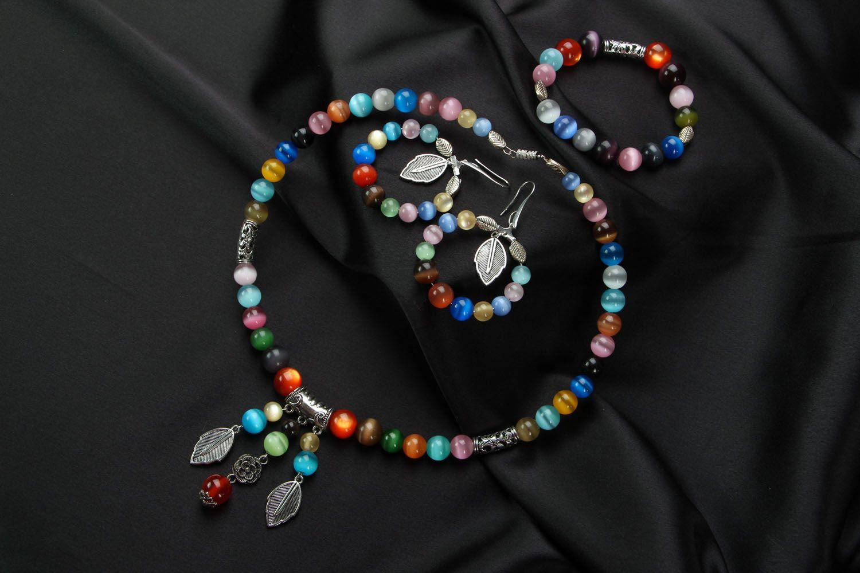 Jewelry set with cat's eye stone photo 1