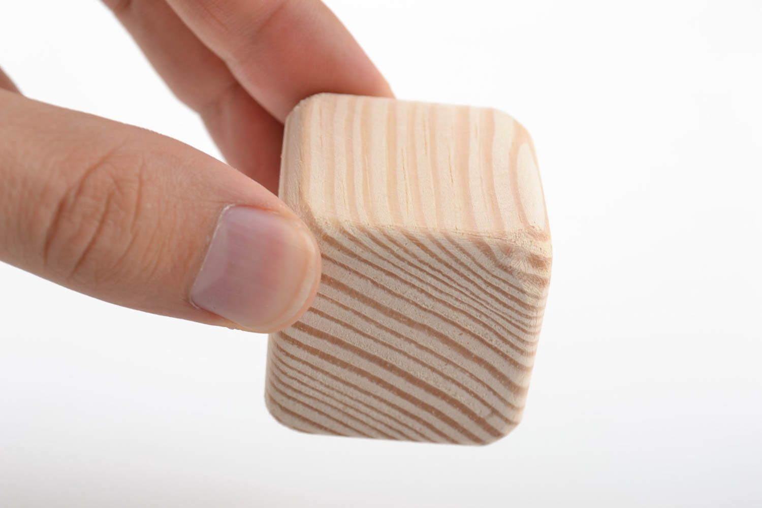 Handmade small pine wood craft blank for decoration cube toy art supplies photo 1