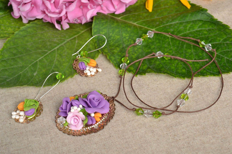 Jewelry set flower jewelry handmade earrings pendant necklace fashion jewelry photo 1