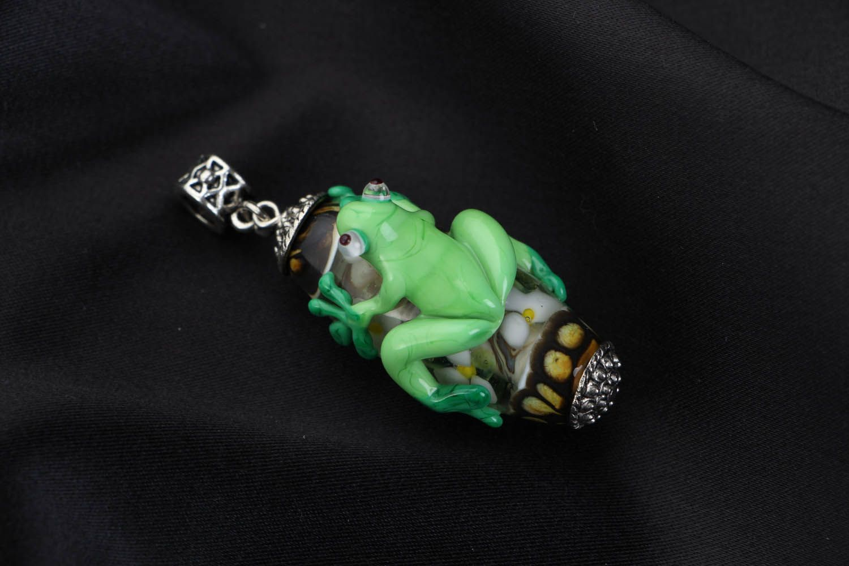 Handmade glass pendant Frog photo 1