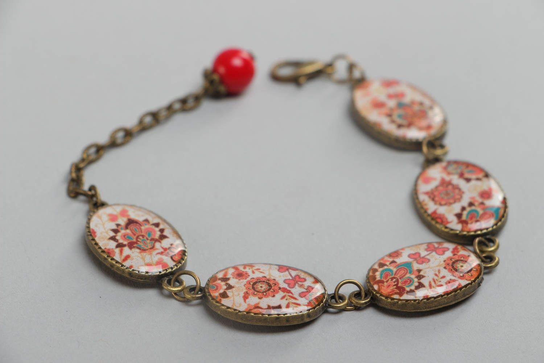 Handgemachtes bemaltes Armband aus Glasur an Kette im orientalischen Stil  foto 3
