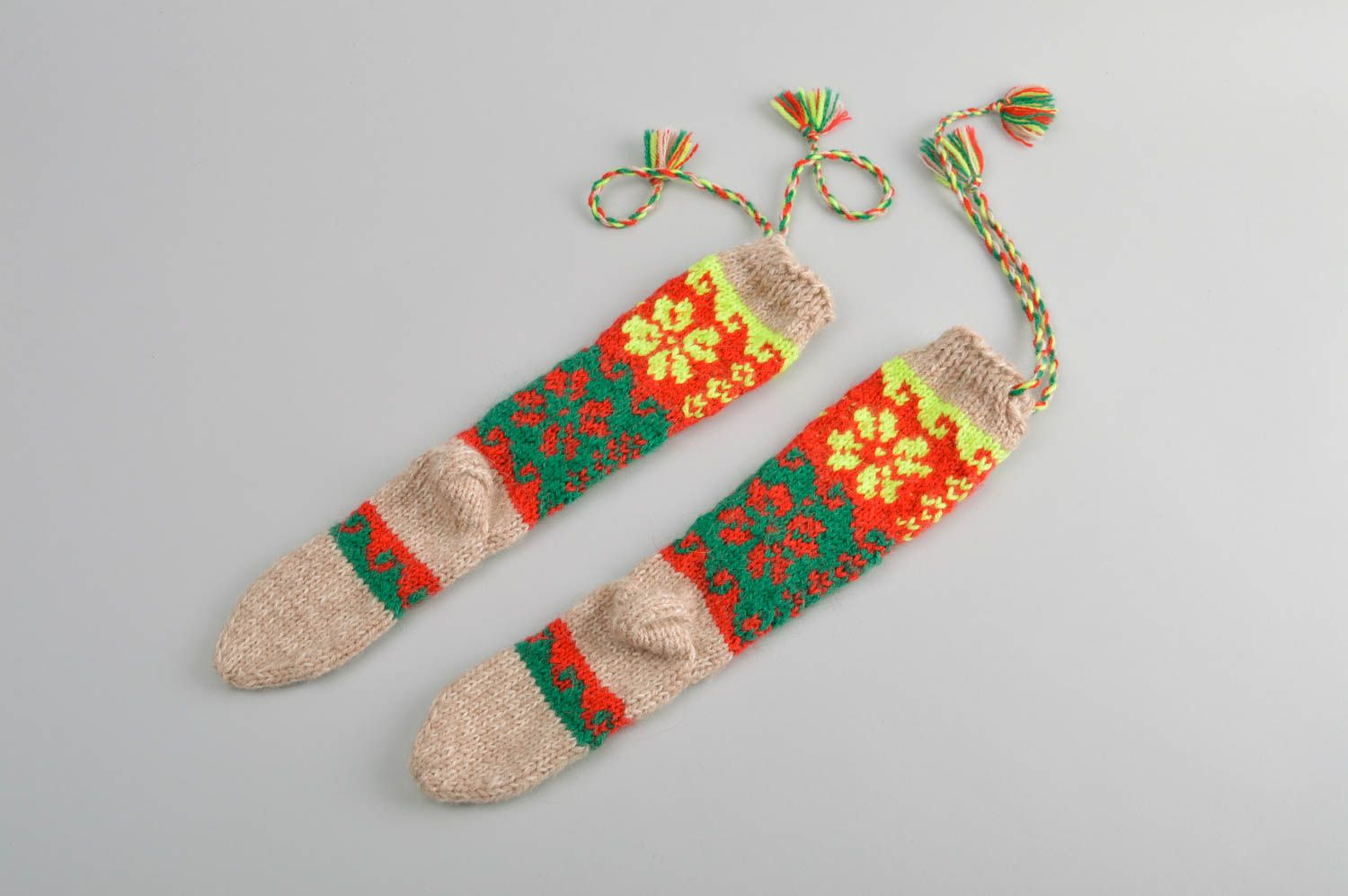 Colorful handmade wool socks warm knitted socks winter accessories for kids - MADEheart.com