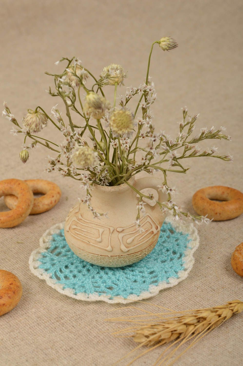 kitchen textiles Handmade openwork napkin crocheted table napkin home decor decorative use only - MADEheart.com