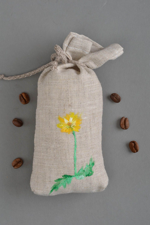 Handmade cushion small sachets pillow natural linen painted dandelion home decor photo 1