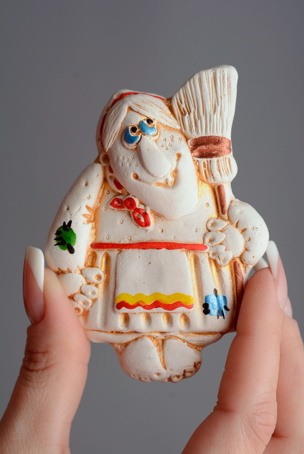 Homemade clay magnet Baba Yaga photo 4