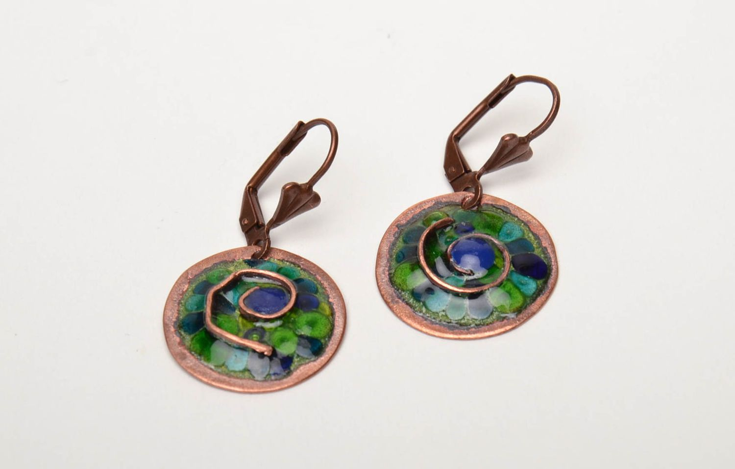 Unusual round copper earrings painted with enamels photo 3