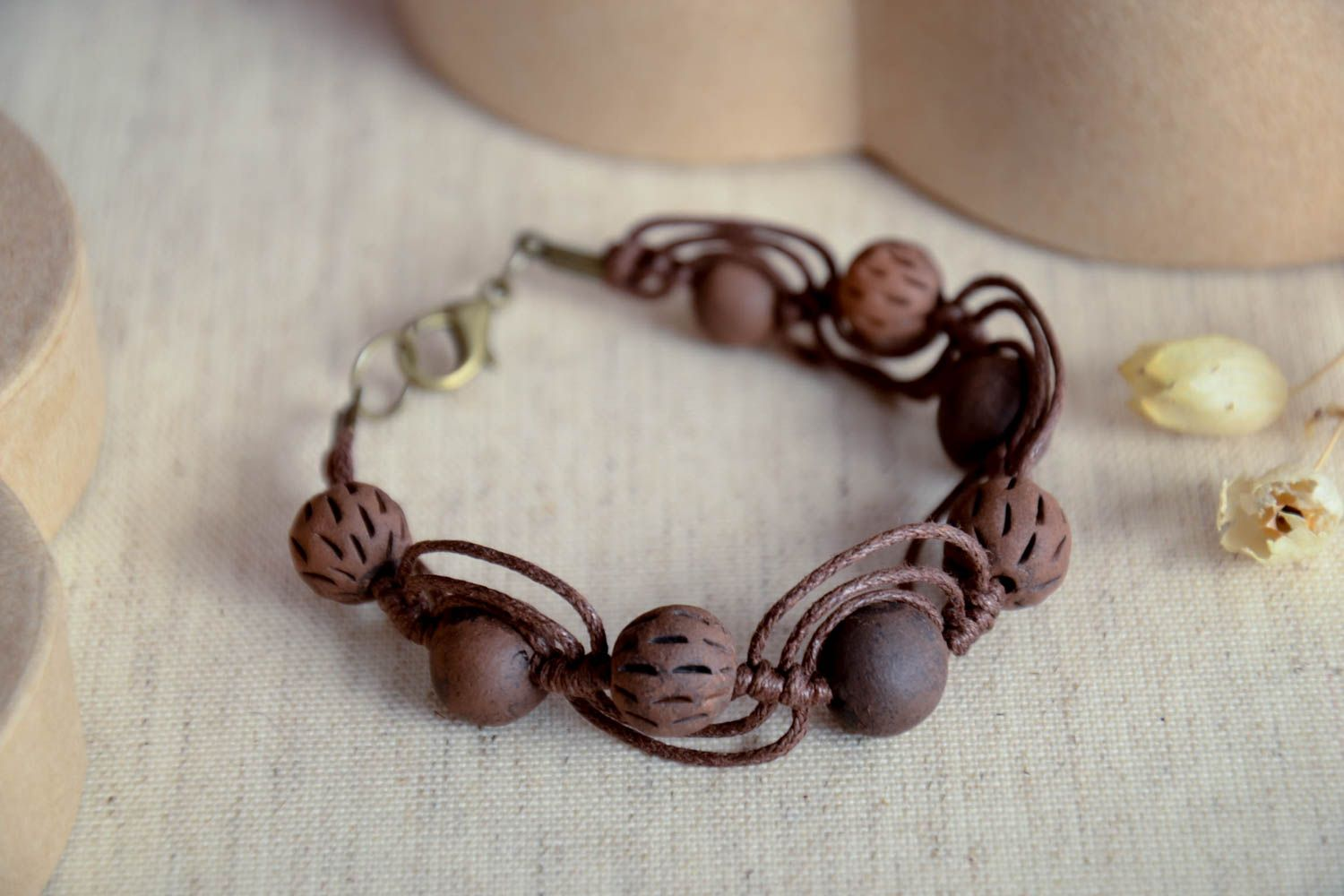 clay bracelets Handmade ceramic bracelet clay beaded bracelet eco friendly accessories - MADEheart.com