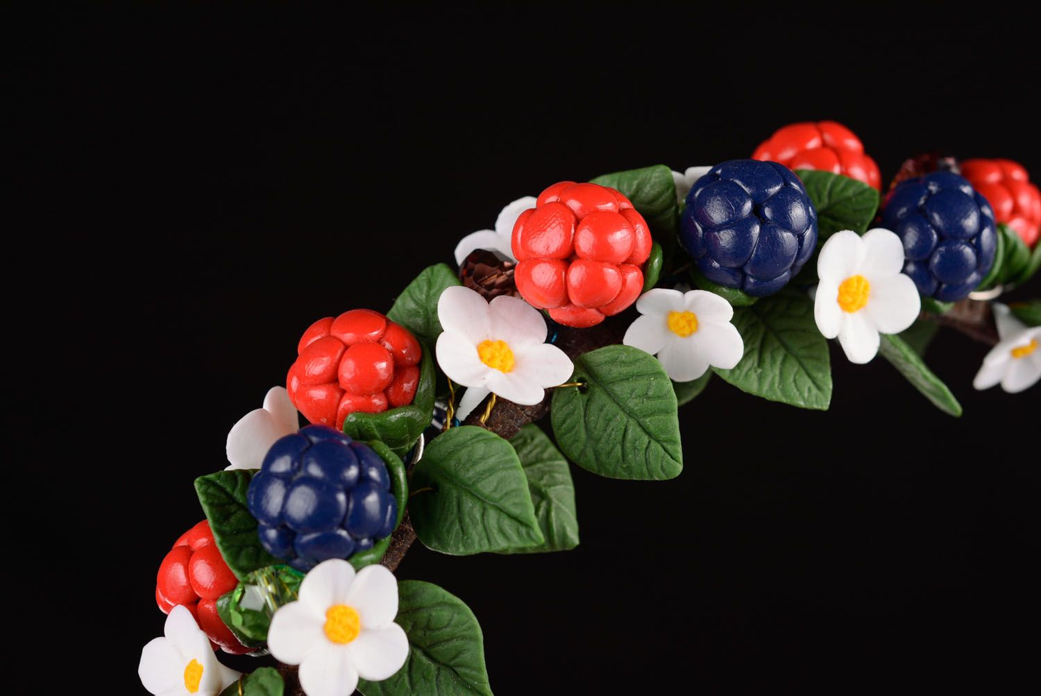 Handmade plastic headband Wild Berries photo 2