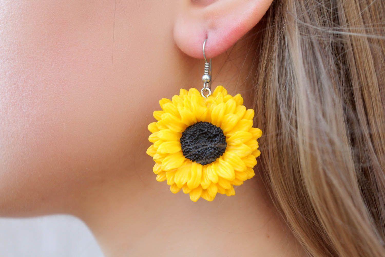 Polymer clay earrings Sunflowers photo 1
