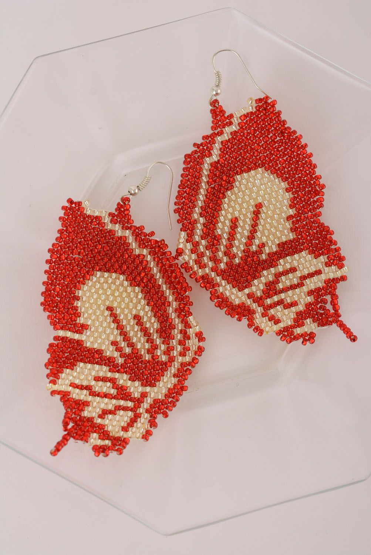 Beaded earrings Butterflies photo 3