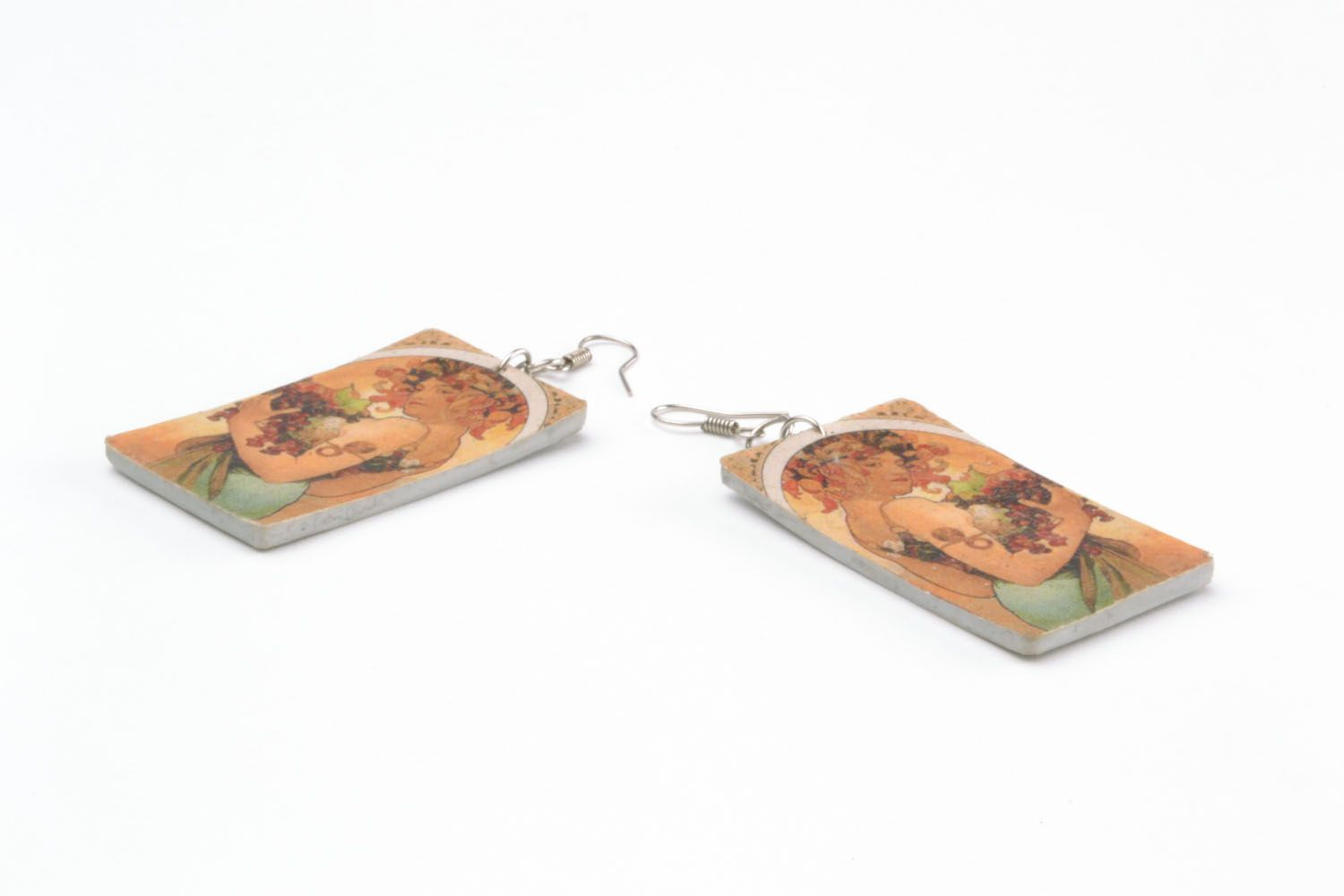 Polymer clay earrings Girl with Grapes photo 5