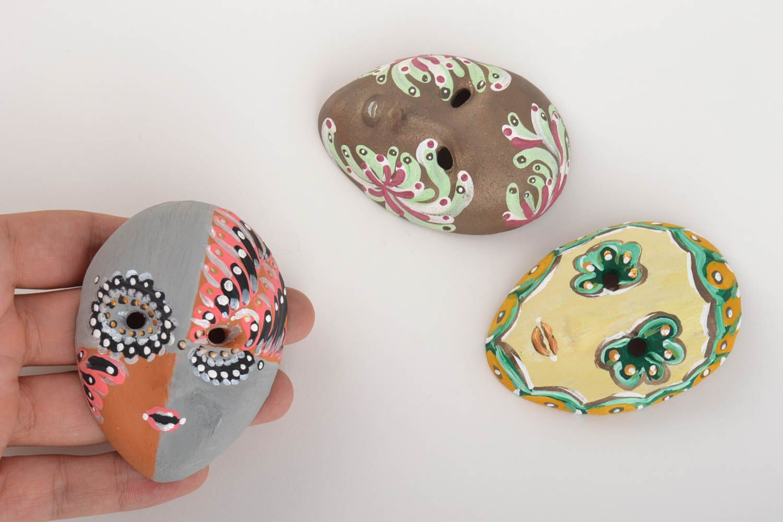 Set of 3 homemade ceramic fridge magnets in the shape of carnival masks photo 5