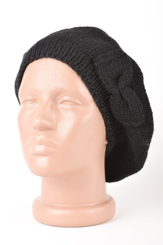 prendas para la cabeza Boina tejida negra artesanales accesorio de moda ropa  de invierno para mujer e4c8ff501ec